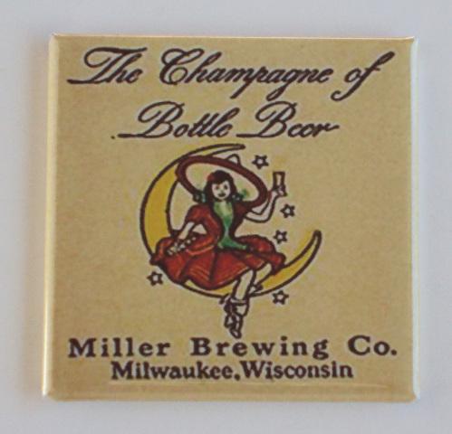 Miller Brewing co beer witch on moon Fridge Magnet Champaign bottle beer K7