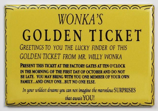 Wonka Golden Ticket Fridge Magnet Willy Wonka Chocolate
