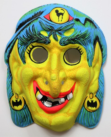 Vintage Gypsy Witch Halloween Mask Zest Bars 1960s ...