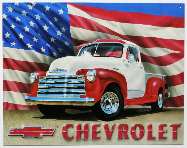 Chevrolet pickup truck tin metal sign chevy american