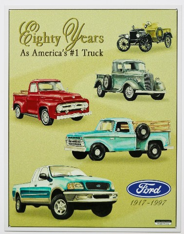Ford 80 Years Americas 1 Pickup Truck Tin Metal Sign F