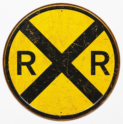 Round Railroad Crossing Tin Metal Signs Street Sign Train
