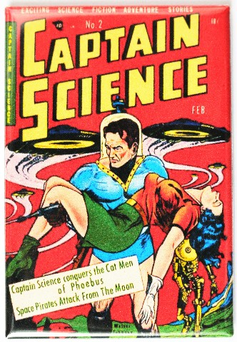 Captain Science No 2 Comic Book Fridge Magnet Sci Fi Pin