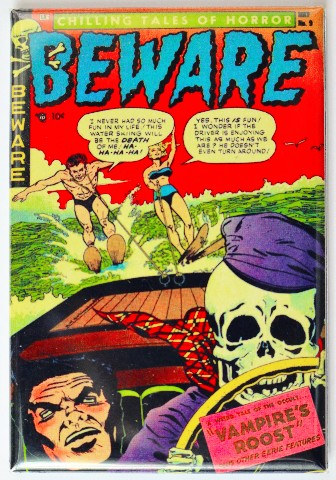 Beware Comic Book FRIDGE MAGNET Horror Pulp Skeleton Water ...