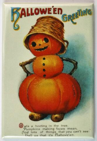 Halloween Greeting Jack O Lantern Fridge Magnet Vintage