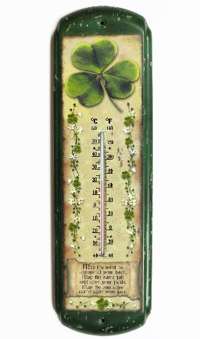 Irish Blessing Metal Thermometer Garden Shamrock Clover