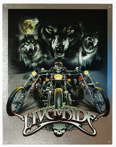 Patrick Buick Gmc >> Live To Ride Tin Metal Sign Wolf Pack Motorcycle Biker Sturgis Daytona Bike Week
