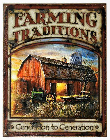 Farming Tradition Tin Metal Sign Barn Farm Tractor Country Decor Agriculture