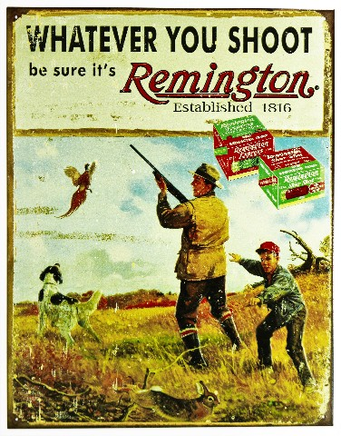 Whatever You Shoot Remington Tin Metal Sign Ammo Trap