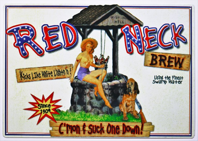 Red Neck Brew Metal Sign Moonshine Beer Brewery Pin Up Girl Southern Belle