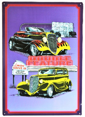 Double Feature Drive In Metal Sign Hot Rod Classic Car
