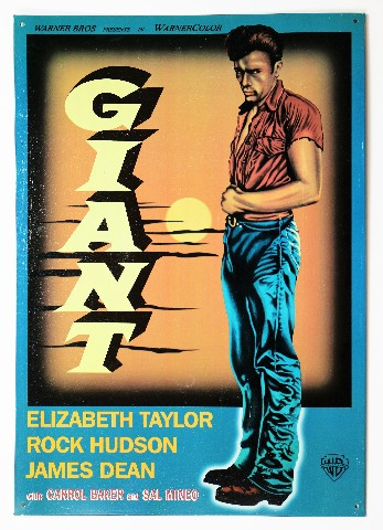 Giant Tin Metal Sign Movie Poster James Dean Elizabeth Taylor Rock Hudson Hollywood