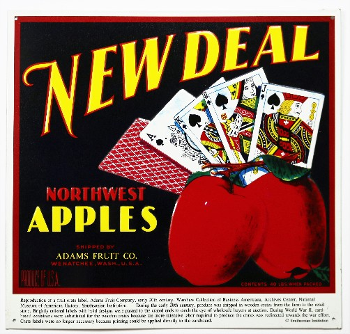 New Deal Northwest Apples Tin Metal Sign Vintage Ad