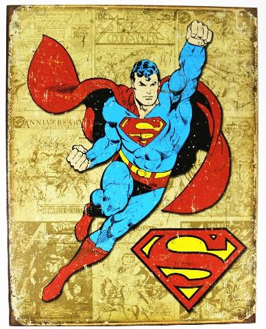 Vintage Style Superman Tin Metal Sign Dc Comics Comic Book