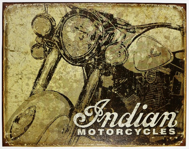 Chevy Dealer Milwaukee >> Indian Motorcycles Weathered Style Tin Metal Sign Chief ...