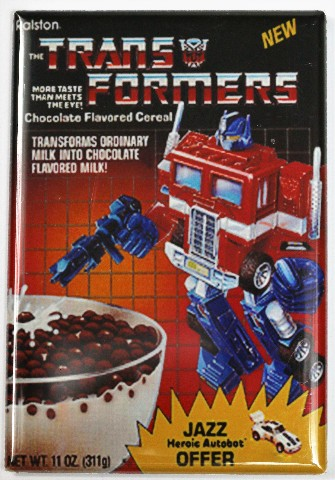 Transformers Cereal Fridge Magnet Jazz Optimus Prime Robot