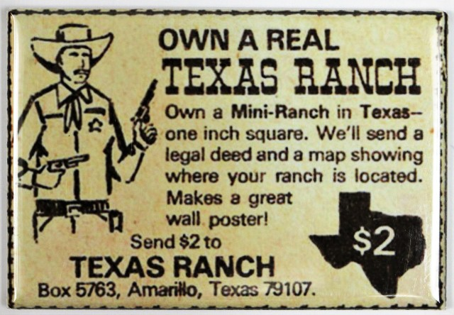 Patrick Buick Gmc >> Own a Real Texas Ranch FRIDGE MAGNET Vintage Comic Book Ad Cowboy Western