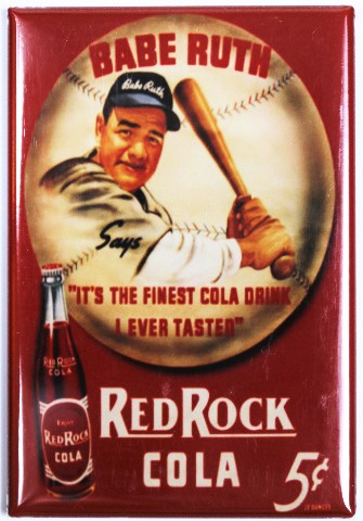 Red Rock Cola Fridge Magnet Babe Ruth Baseball Soda Pop