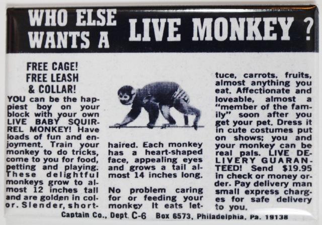 Live Monkey Comic Book AD FRIDGE MAGNET Vintage Style Toy