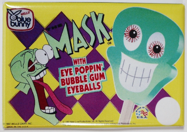 Blue Bunny Mask Bubble Gum Eyeballs FRIDGE MAGNET Vintage Style AD