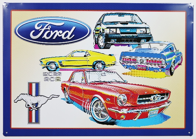 Ford Mustang Boss 302 Tin Sign GT Shelby Fastback Fox Pony Car B50