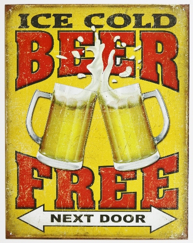 Ice Cold Beer Free Next Door Tin Metal Sign Bar Garage Funny Humor Pub B23