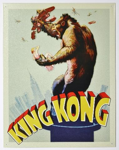 1933 King Kong Movie Poster Tin Metal Sign Skull Island Monster Film