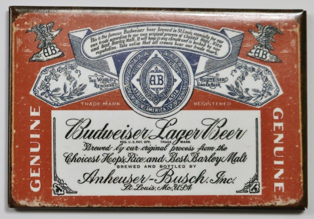 Anheuser Busch Budweiser Beer Fridge Magnet Brewery Label