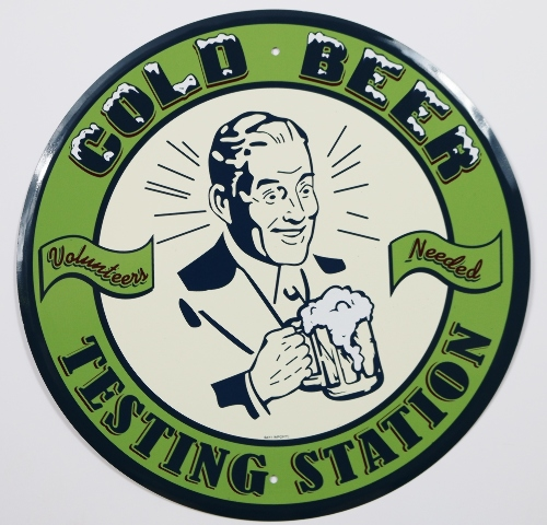 Ocean City Jeep Week >> Cold Beer Testing Station Volunteers Needed Round Tin Metal Sign Bar Pub Alcohol