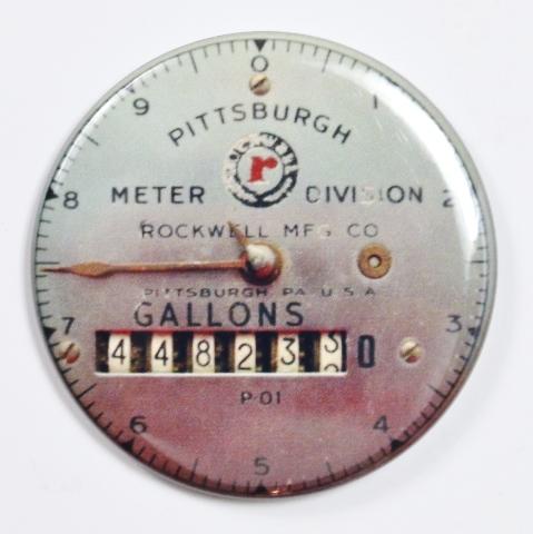 "Pittsburgh Meter Division Steampunk Gauge FRIDGE MAGNET Vintage Style 2 1/4"" Rnd"