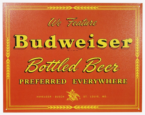 We Feature Budweiser Bottled Beer Tin Sign Anheuser Busch