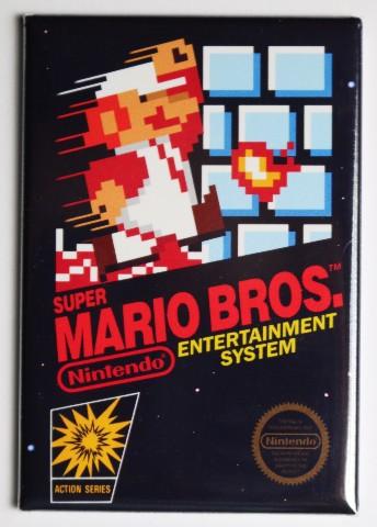 Nintendo Super Mario Bros FRIDGE MAGNET Video Game Box Classic NES