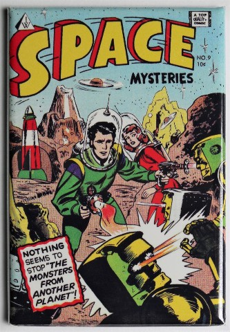 Space Mysteries No 9 Cover FRIDGE MAGNET UFO Flying Saucer 50s Comics