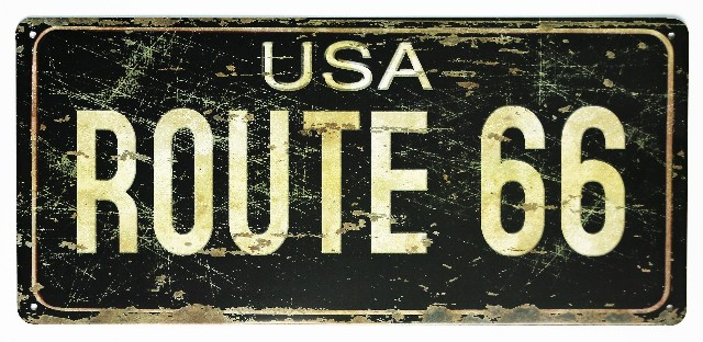 Usa Route 66 Tin Metal License Plate Sign Hot Rod Garage