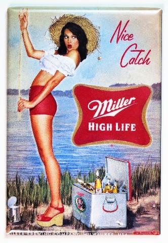 Planet Ford 59 >> Miller High Life Nice Catch Pin Up Girl FRIDGE MAGNET Beer ...
