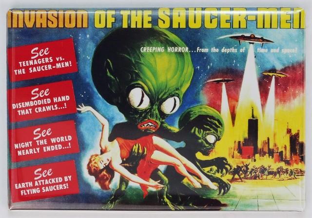 Invasion of the Saucer Men Movie Poster FRIDGE MAGNET Sci Fi Alien Monster Film UFO
