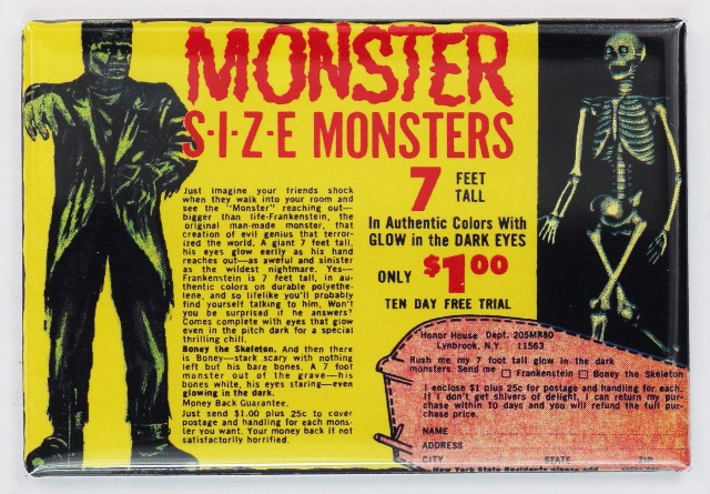 Monster Size Monster Comic Book Ad FRIDGE MAGNET Frankenstein Skeleton