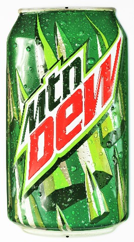 Mountain Dew Can Die Cut Large Premium Tin Metal Sign Pepsi Ande Rooney Pop Soda