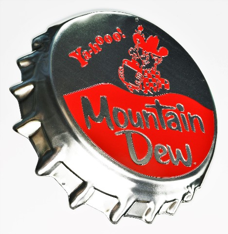 Mountain Dew Bottle Cap Premium Die Cut Tin Sign Pepsi