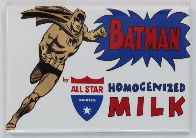 All Star Dairies Batman Milk FRIDGE MAGNET DC Comics Vintage AD Comic Book