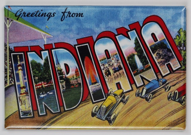 Greetings From Indiana FRIDGE MAGNET Race Cars Indianapolis Fort Wayne