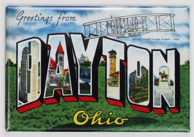 Greetings From Dayton Ohio Postcard FRIDGE MAGNET Wright Flyer UD