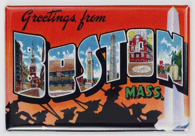 Greetings From Boston Massachusetts Postcard FRIDGE MAGNET