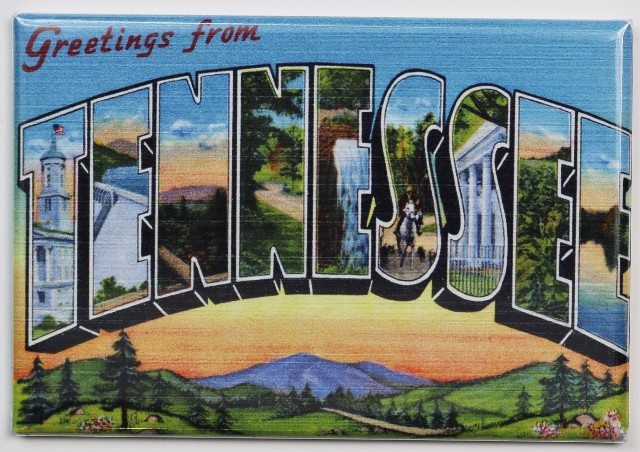 Greetings From Tennessee Postcard FRIDGE MAGNET Nashville Memphis Gatlinburg