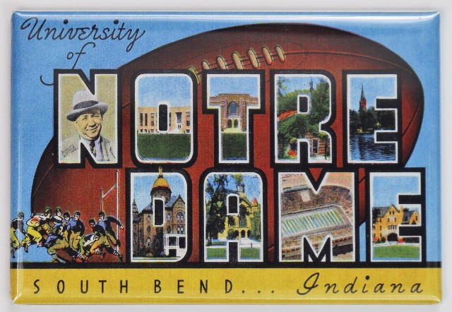 University of Notre Dame South Bend Indiana Postcard FRIDGE MAGNET
