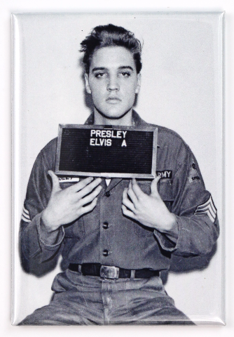 Elvis Presley Mugshot Fridge Magnet Military Uniform B Amp W