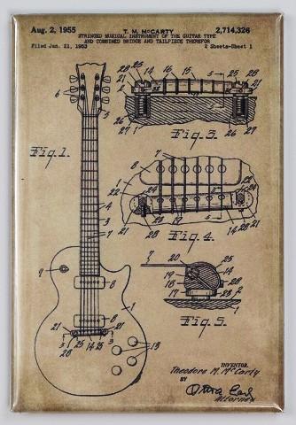 Gibson Les Paul Guitar Patent Drawing FRIDGE MAGNET drawing Blue print