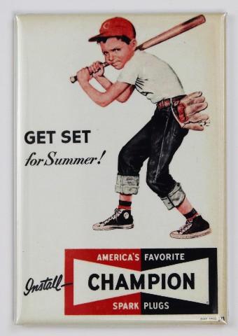 Champion Spark Plugs Vintage Ad FRIDGE MAGNET Cincinnati Reds Baseball