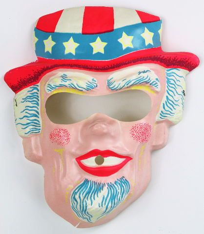 Vintage Uncle Sam Halloween Mask USA America 4th of July 1960s 70s