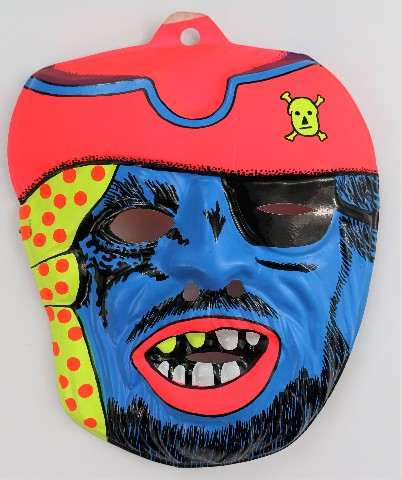Vintage Blue Ghost Pirate Halloween Mask Creepy Scary Blue